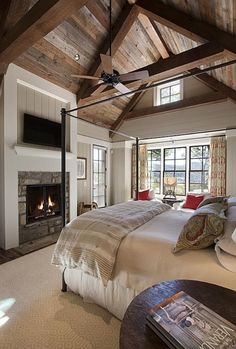 Don't care for the color of the fireplace, but love the other colors and the beams