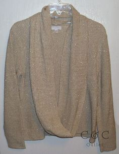 Charter Club NEW Cable Knit Sweater Scarf SET XL Extra Large Beige Metallic