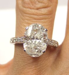 1960s 2.86ct Estate Oval Diamond Engagement ring Ring in Platinum. $11,850.00