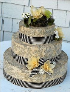 "DIY WEDDING CAKE BOX ~ A unique twist on the traditional wish bowl with a stunning and clever ""cake"" box. Instead of guests dropping their wishes for the bride and groom in a bowl they drop them in a slot at the top of the cake, so the cake is functional and decorative at the same time. ~ http://www.oncewed.com/7664/diy-wedding/decor/diy-cake-card-box/"