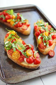 Warm Tomato & Mozzarella Bruschetta – Winter version of the Italian classic.