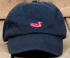 Hat in Navy with Pink Duck by Southern Marsh1