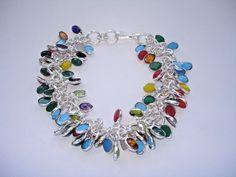 "AB Turquoise Onyx Moonstone Amethyst Red Cora Bracelet Wrist Chain Silver 8-8.5"" #Handmade #Statement"