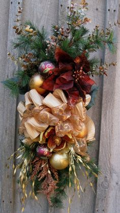 Christmas Wreath, Holiday Designer Swag, Woodland Christmas Centerpiece, Elegant Christmas Swag via Etsy.