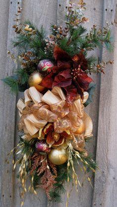 Christmas Wreath, Holiday Designer Swag, Woodland Christmas Centerpiece, Elegant Christmas Swag via Etsy.