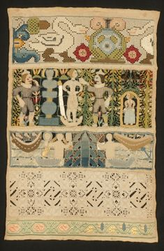 Sampler: Susanna and the Elders, mid to late 17th century, 37 x 25 cm, linen threads, wrapped metal threads, silk, pearls, glass beads, coral beads on linen, M & E Feller, photography by R. Holdsworth FRPS