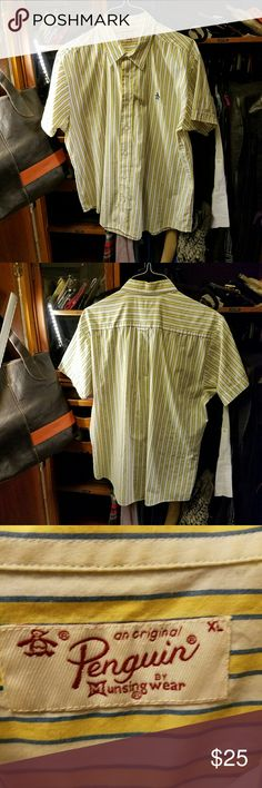 PENGUIN short sleeve shirt Just back from the dry cleaners... In yellow and white stripes Size XL. penguin  Shirts Casual Button Down Shirts