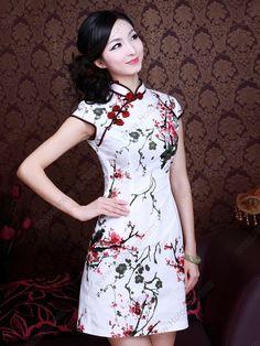 Women's Cotton Mini plum Cheongsam Dress - USD $ 45.00