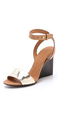 35f1a988a376 See by Chloe Metallic Wedge Sandals Wedge Sandals