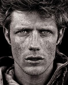 Self portrait by Joel Bedford.  Freckles. Intense. http://zsazsabellagio.blogspot.com/