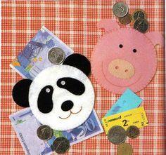 """Porta-moedas """"Panda e Porco"""""""