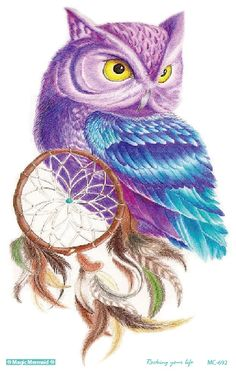 MC692 19X12cm HD Large Tattoo Sticker Body Art Purple Dim OWL Temporary Tattoo Terrorist Stickers Flash Taty Tatoo