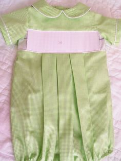 ready to smock light green gingham check boys bubble