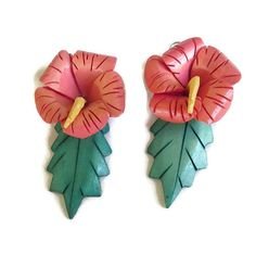 Large Carved Wood Flower Dangle Earrings  by MyVintageJewels