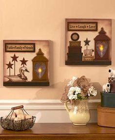 Add a warm, inviting touch to your home with this Lighted Country Wall Art. Each wooden piece features rustic images and a sentimental phrase. The candle lanter