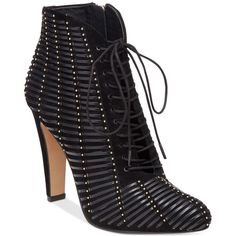 Vince Camuto Megara Studded Lace-Up Booties ($189) ❤ liked on Polyvore featuring shoes, boots, ankle booties, black, studded booties, black ankle booties, black studded ankle booties, lace up booties and lace up ankle booties