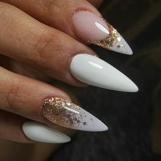 Why are stiletto nails so amazing? We have found the very Best Stiletto Nails for 2018 which you will find below. Having stiletto nails really makes you come off as creative and confident. You can be that fierce girl you always wanted to be! Stiletto Nail Art, Gel Nail Art, Nail Polish, White Nail Art, White Nails, Glitter Nails, Fun Nails, Gold Glitter, Acrylic Nails Natural