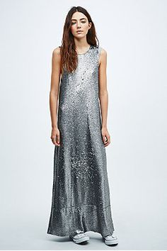 Native Rose Sequin Slouch Maxi Dress in Silver