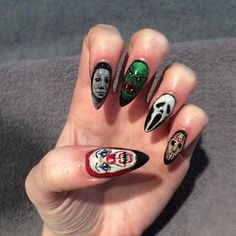 Add the biggest horror movie monsters to your manicure for Halloween with this nail art tutorial.