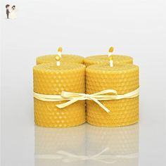 100% Beeswax Candles Set of 4 Candles Size W 6 x H 6,5 cm 100% Handmade Hand Rolled Natural Beeswax/Honey Scent Eco Candle - Venue and reception decor (*Amazon Partner-Link)