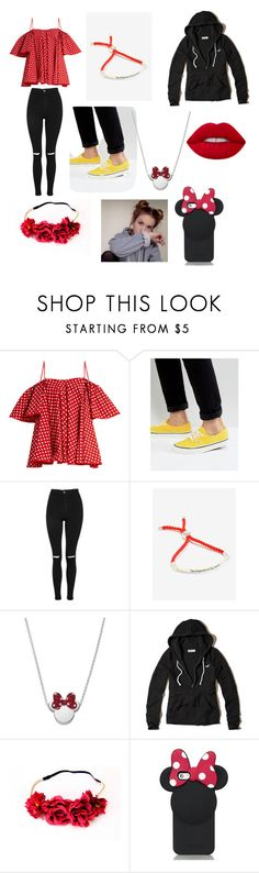 """Minnie Mouse"" by dazzleeliana ❤ liked on Polyvore featuring Anna October, Vans, Topshop, Disney, Hollister Co. and Kate Spade"
