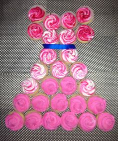 Vanilla Cupcakes with Two Toned Pink/ White Whipped Icing
