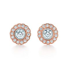 Tiffany & Co. -  Tiffany Enchant® flower earrings in platinum and 18k rose gold with diamonds.
