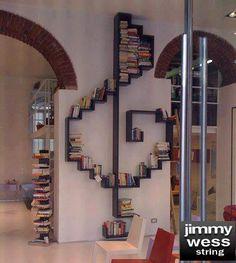 Jimmy Wess String, librero, musica, casa.