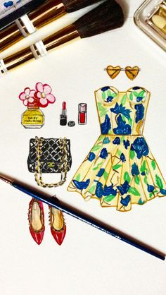 Stylish #art #watercolor #illustration #chanel #fashion #stylish #sunglasses #dress #perfume #shoes #shimonastudio #watercolor #instagram