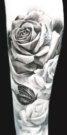 black and grey roses by Eric Marcinizyn #InkedMagazine #roses #tattoos ...