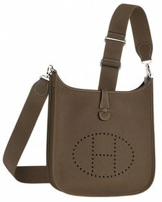 c64a573a56b Hermes Evelyn cross body bag in grey leather.