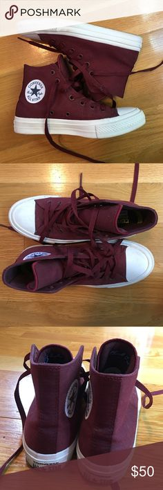 Chuck Taylor All Star || These are Converse Chuck Taylor All Stars, version 2. They are maroon, size 7, and worn only a few times. They're in very good condition and no problems with them other than personal preference of the color. Converse Shoes Sneakers