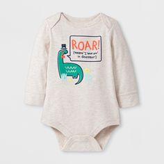 """Baby Boys' 'roar!(means """"I love you"""" in dinosaur)' Long Sleeve Bodysuit - Cat & Jack Oatmeal 24M, Beige"""