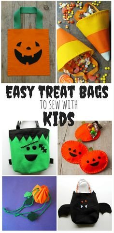 Easy treat bags to make with kids halloween diy projects & h Halloween Crafts For Kids, Halloween Trick Or Treat, Halloween Diy, Halloween Sewing Projects, Halloween Carnival, Halloween Books, Family Halloween, Halloween Night, Halloween Decorations