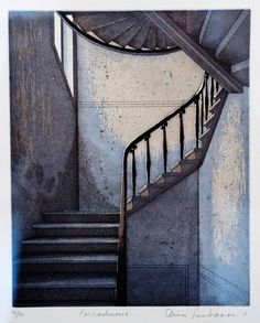 melibibula - Elina Luukanen - I love this aquatint etching. The colours, the design, the composition and the subject all appeal to me. Love the skilled craftsmanship too. Graphic Illustration, Graphic Art, Stippling Art, Collagraph, Intaglio Printmaking, Paintings I Love, Beauty Art, Medium Art, Stairways