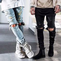 Cheap biker jeans, Buy Quality slim fit jeans directly from China fitted jeans Suppliers: Mens Ripped Skinny Straight Slim Elastic Denim Fit Biker Jeans Pants Long Pants Stylish Straight Slim Fit Jeans Mens Slim Ripped Jeans, Biker Jeans, Ripped Skinny Jeans, Jeans Pants, Denim Jeans, Camo Pants, Skinny Fit, Fashion Moda, Men's Fashion