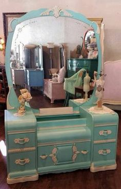 1940s Waterfall Vanity finished in 100 percent nontoxic Shabby Paints Vanilla Bear/Alamo White mix, Tiffany, and Pearl reVAX. ~ Pieces of Time, 735 Texas St, Fairfield, Ca 94533.