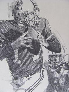 Vintage Football Print Poster Sketch  Steve Grogan  by TheManlyMan, $13.95