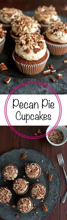Pecan Pie Cupcakes with the Smoothest Pecan Pie Ermine Buttercream Frosting | http://thetoughcookie.com