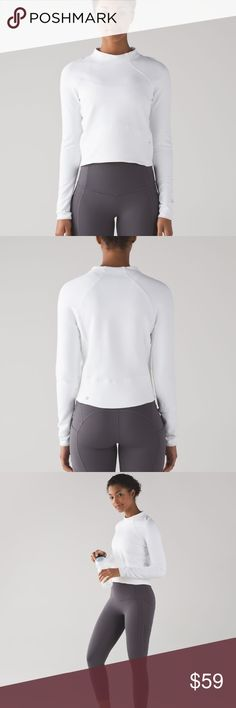 Lululemon Hill and Valley Mock Neck Cropped long sleeve in warm, sweat wicking, rulu fabric with small zipped pocket and mock neck. lululemon athletica Tops Crop Tops