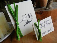 Green raffia calligraphy place card or by DesignsByRobynLove