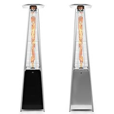 propane patio heaters, these are almost like pieces of artwork with the dancing flames inside that also give off heat to extend your outdoor living season.