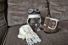 Knotty Knotty Crochet: Little flying ace hat, scarf and boot FREE PATTERN!