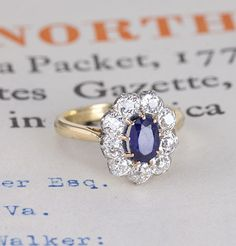 Massive Edwardian Sapphire and Diamond Cluster Engagement Ring, $7,500.00