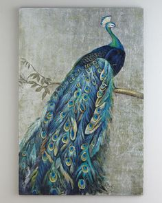 "For your dining room. Ties together the colors of both rooms.  Niemen Marcus by Grace Feyock  ""Proud+Peacock""+Painting+at+Neiman+Marcus. Painted by Grace Feyock"