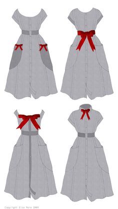 Four different ways to decorate a dress with bows by Elsa Mora