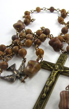 This combination of tigerskin jasper and zebra jasper beads makes for an very unique wire-wrapped rosary.  This would make a great confirmation gift.