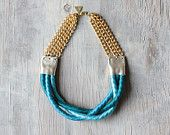 """Braided Rope necklace """" Inanna """"  /// Teal Blue Ombre"""