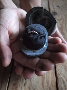 stony box for engagement ring black sea pebble by Mihulli on Etsy