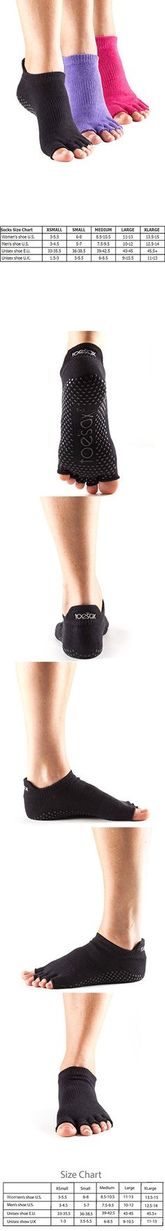 ToeSox Half Toe Low Rise Grip Pilates Barre Socks 3 Pk (Black/Fuchsia/Purple, M)